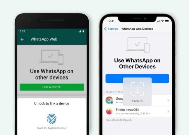WhatsApp authentification biométrique