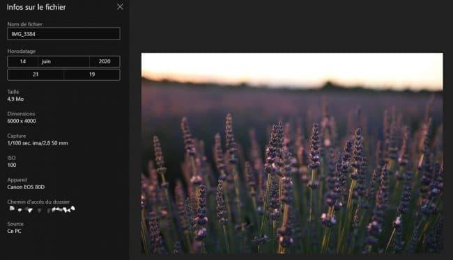 Informations EXIF d'une photo prise avec un appareil photo
