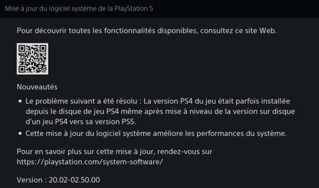 Version 20.02-02.50.00 de la PS5