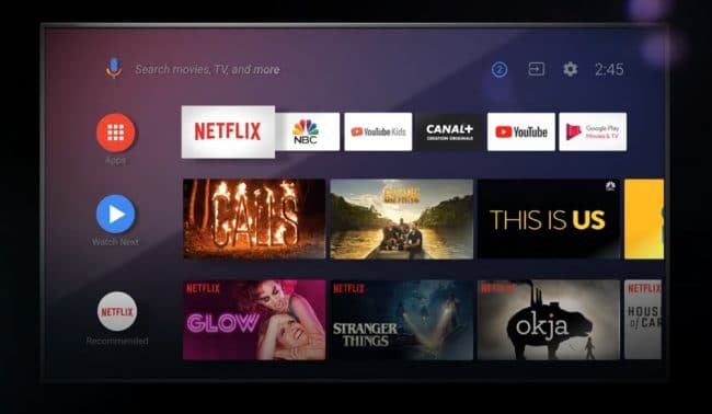 L'interface actuelle d'Android TV © Google