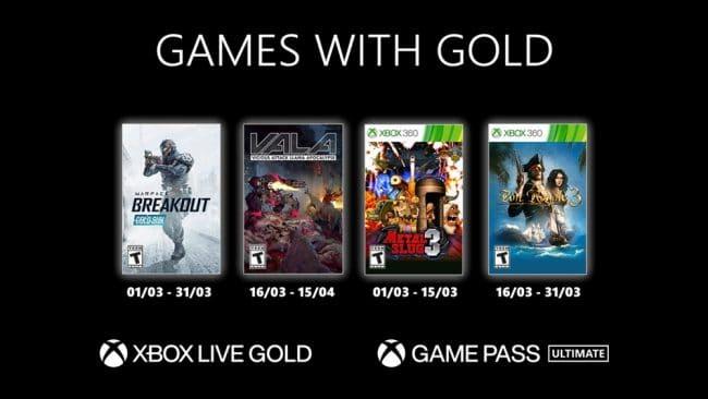 Les Games with Gold de mars 2021