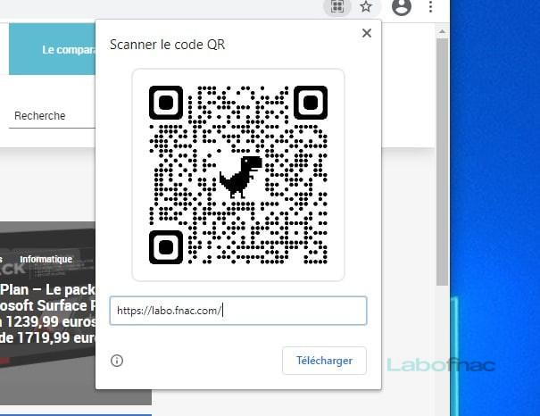 Le générateur de QR Code dans Google Chrome © Capture d'écran / LaboFnac