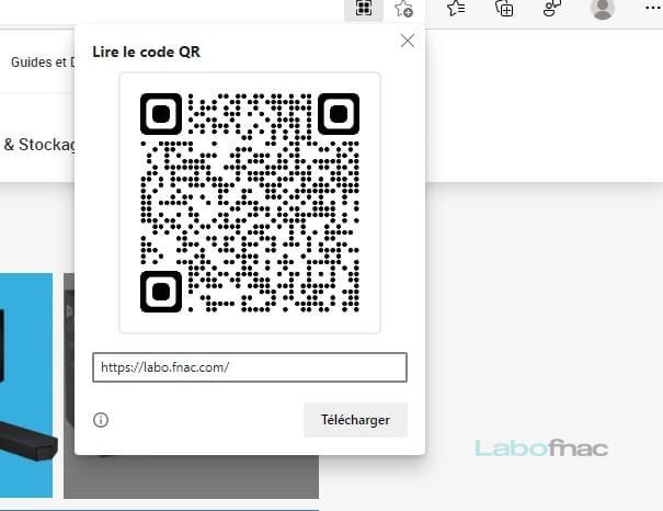 Le générateur de QR Code dans le nouvel Edge © Capture d'écran / LaboFnac