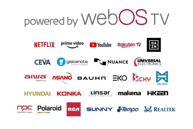 Les entreprises et services qui soutiennent webOS © LG