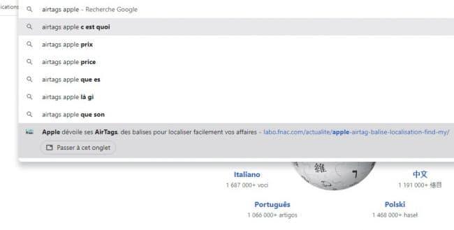 Google Chrome onglet