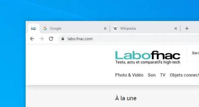 Google Chrome onglet épinglé