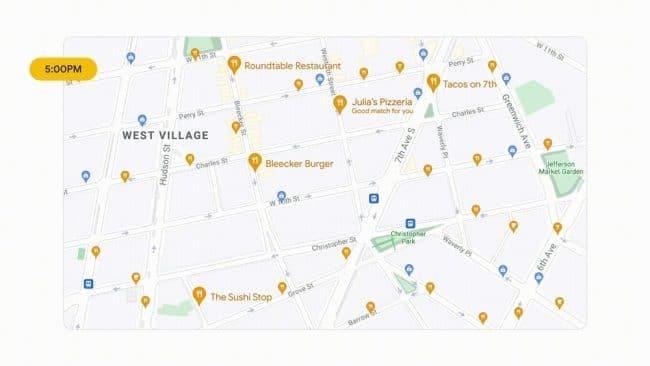 Maps va afficher les lieux pertinents en fonction de l'heure de la journée et du fait que vous voyagez ou non © Google