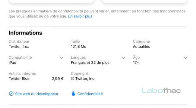 Twitter Blue sur l'App Store