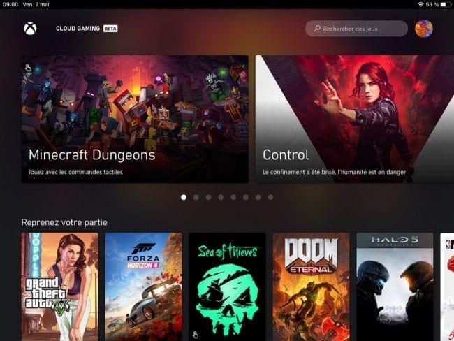 Xbox Cloud Gaming interface
