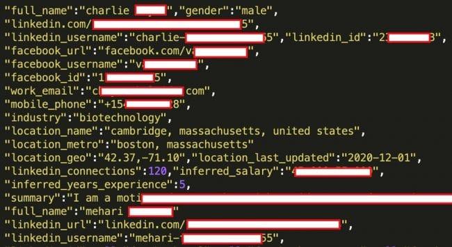 Lesnoms complets, lesnoms d'utilisateur LinkedIn, lesnoms d'utilisateur Facebook, lescomptes demessagerie, lesnuméros detéléphone portable, lesdonnées professionnelles etl'estimation dusalaire sontvisibles danscetexemple. © RestorePrivacy