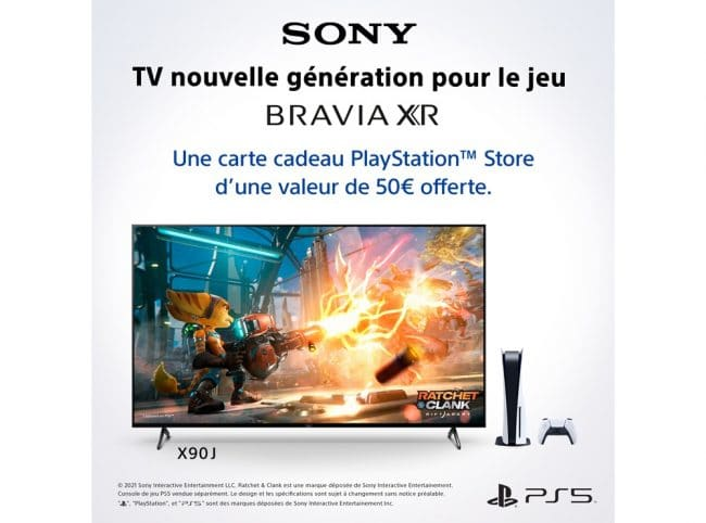 Sony offre unecarte cadeau PlayStation Store pourl'achat d'untéléviseur BraviaXR