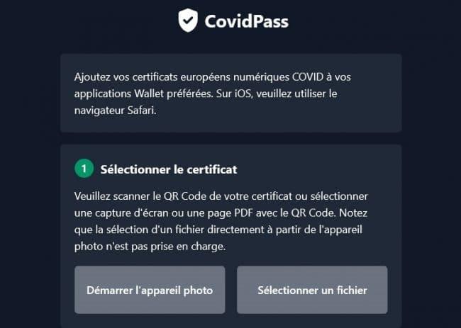 © Capture d'écran/CovidPass