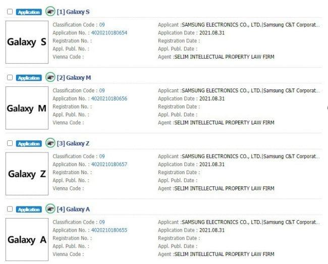 Les marques récemment déposées par Samsung auprès de la KIPRIS