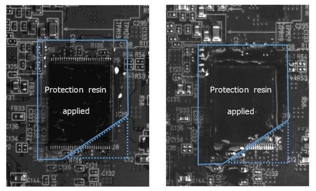 La résine de protection transparente appliquée sur le substrat (trait plein) n'est pas perceptible en lumière visible, mais apparaît en noir dans le spectre UV. La zone non revêtue (ligne pointillée) n'apparaît pas noire même sous une lumière UV. (À gauche : lumière visible – À droite : lumière UV) © Sony