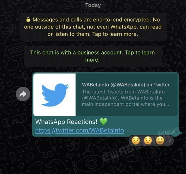 WhatsApp réactions messages