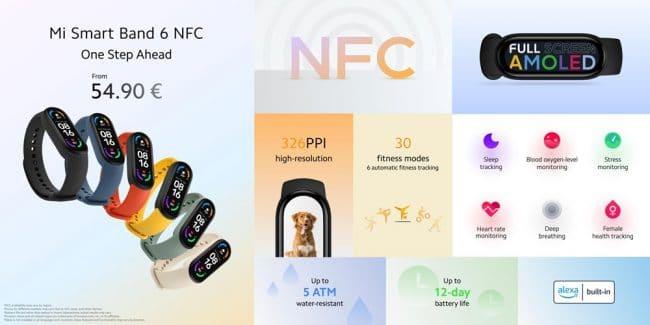 Les caractéristiques du Mi Smart Band 6 NFC © Xiaomi