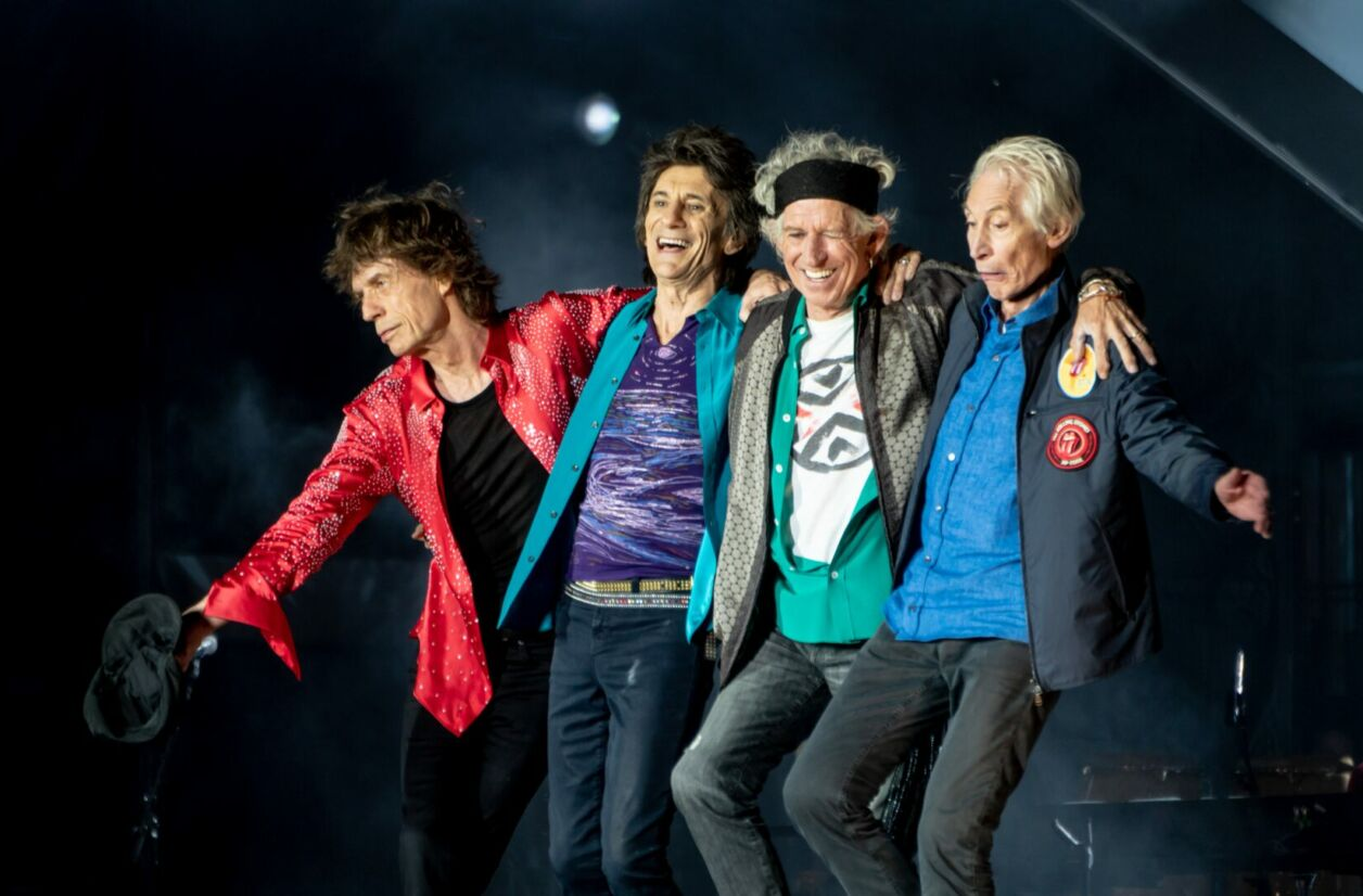 Mick Jagger, Ronnie Wood, Keith Richards, Charlie Watts après un concert à Londres en 2018
