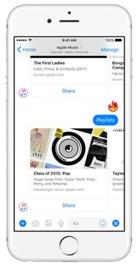 Apple Music est disponible sur Facebook Messenger