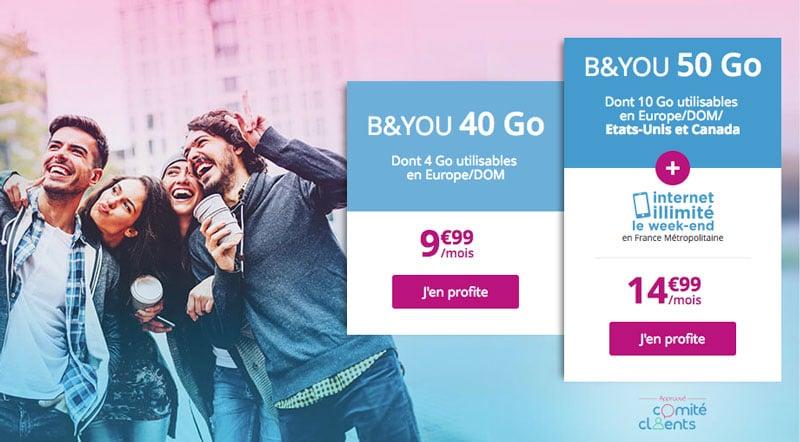 Bon Plan - B&You : une série limitée à 14,99 euros avec 50 Go de data, dont 10 utilisables eu Europe et aux USA