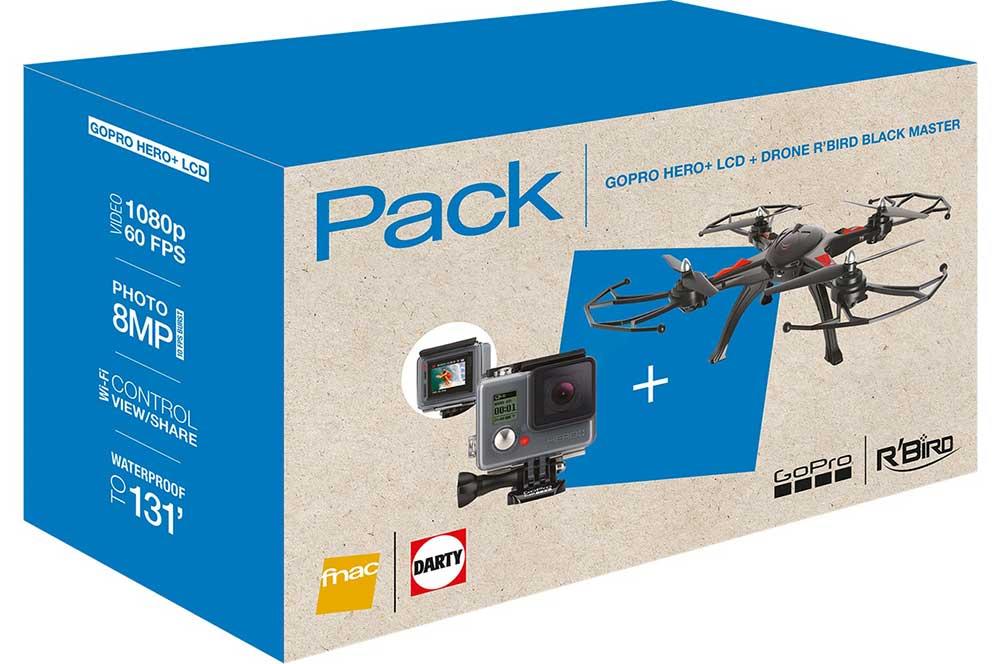 Bon plan - Une GoPro Hero+ LCD et un drone R'Bird Black Master pour 249,99 €