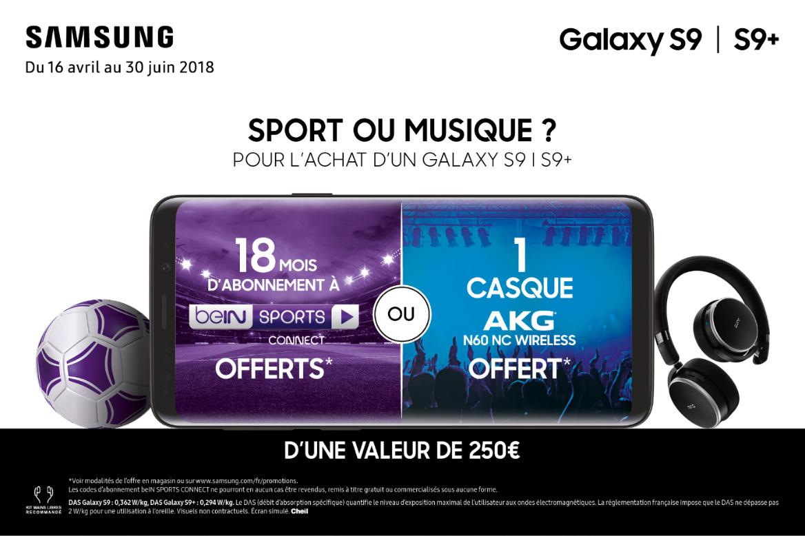 Samsung Galaxy S9/S9+ : 18 mois de beIN Sports offerts pour suivre le Mondial