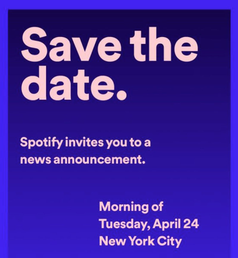 """Spotify doit faire une """"annonce"""" le 24 avril à New York"""