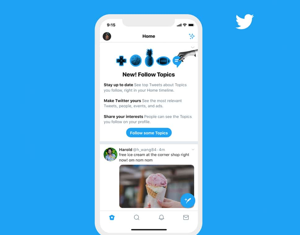 """Twitter lance Topics pour suivre ses """"centres d'intérêt"""" plus facilement"""